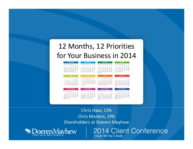 12Months,12Priorities forYourBusinessin2014  ChrisHaas,CPA ChrisMasters,CPA ShareholdersatDoerenMayhew