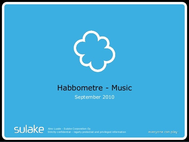 Strictly confidential – legally protected and privileged information Habbometre - Music September 2010 Aino Luode - Sulake...
