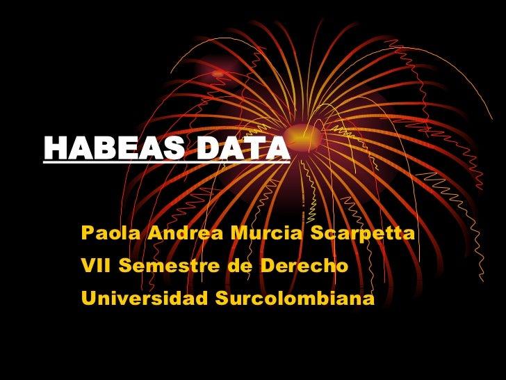 HABEAS DATA Paola Andrea Murcia Scarpetta VII Semestre de Derecho Universidad Surcolombiana