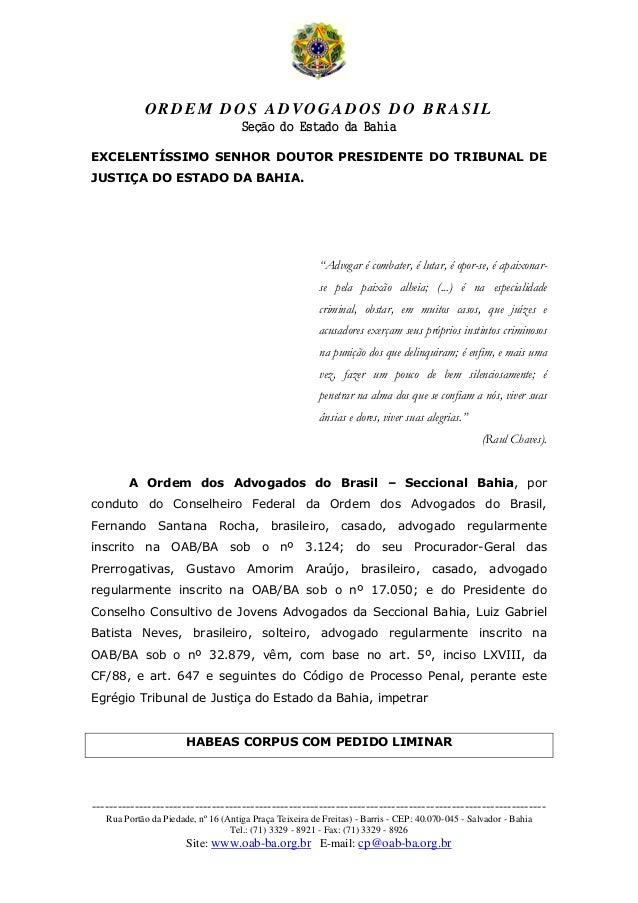 ORDEM DOS ADVOGADOS DO BRASIL Seção do Estado da Bahia -------------------------------------------------------------------...