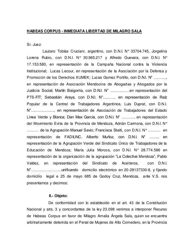 Habeas Corpus Por Milagro Sala