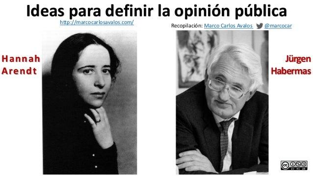 Hannah Arendt Jürgen Habermas Ideas para definir la opinión pública Recopilación: Marco Carlos Avalos @marcocar http://mar...
