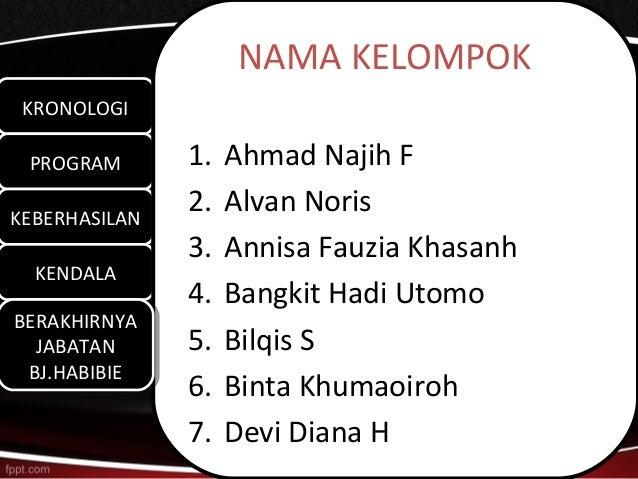 NAMA KELOMPOK KRONOLOGI KRONOLOGI PROGRAM PROGRAM       1.   Ahmad Najih FKEBERHASILANKEBERHASILAN               2.   Alva...