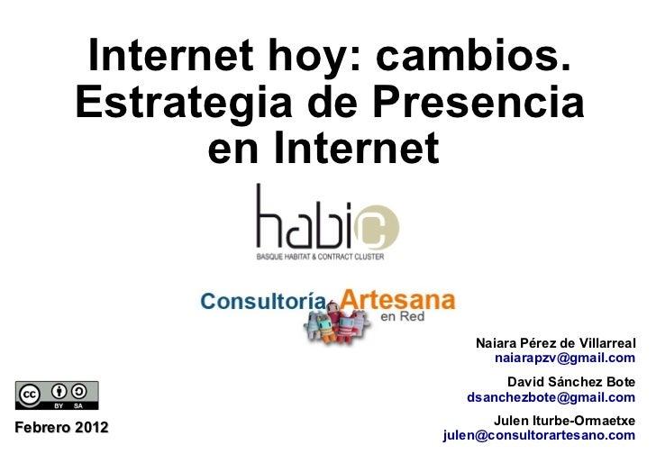 Febrero 2012 Naiara Pérez de Villarreal [email_address] Internet hoy: cambios. Estrategia de Presencia en Internet  Julen ...