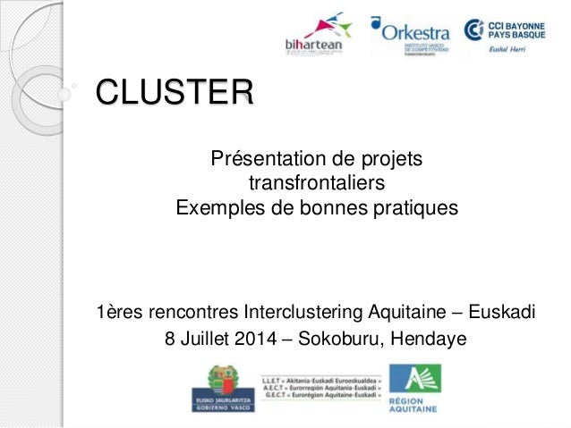 CLUSTER 1ères rencontres Interclustering Aquitaine – Euskadi 8 Juillet 2014 – Sokoburu, Hendaye Présentation de projets tr...