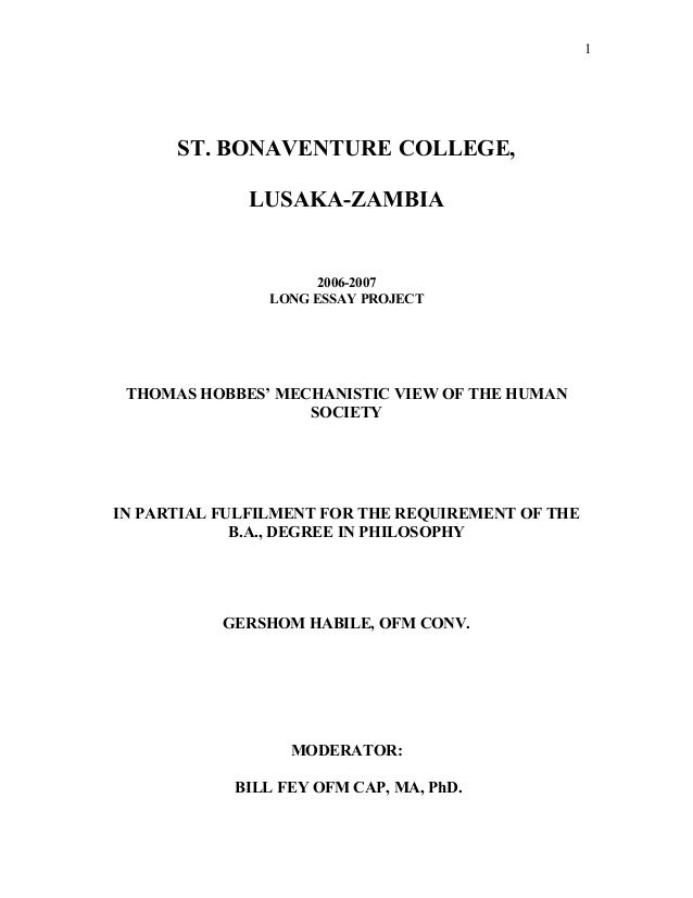 thomas hobbes mechanistic view of the human society bonaventure college lusaka zambia 2006 2007 long essay project thomas hobbes