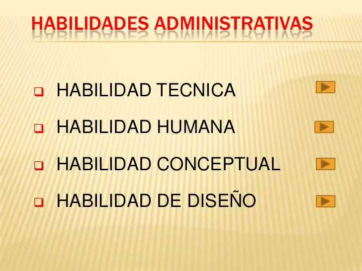 HABILIDADES ADMINISTRATIVAS   HABILIDAD TECNICA   HABILIDAD HUMANA   HABILIDAD CONCEPTUAL   HABILIDAD DE DISEÑO