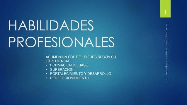 1  HABILIDADES PROFESIONALES ASUMEN UN ROL DE LIDERES SEGÚN SU EXPERIENCIA • FORMACION DE BASE. • SUPERACION • FORTALECIMI...