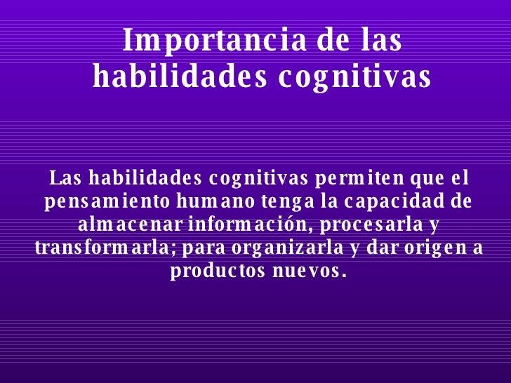 Habilidades cognitivas y metacognitivas for Importancia de los viveros forestales