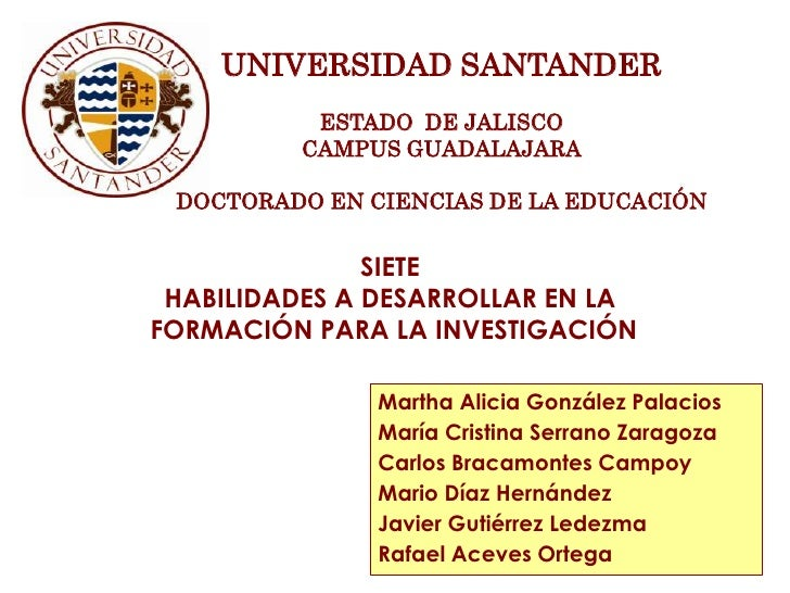 UNIVERSIDAD SANTANDER          ESTADO DE JALISCO         CAMPUS GUADALAJARA DOCTORADO EN CIENCIAS DE LA EDUCACIÓN         ...