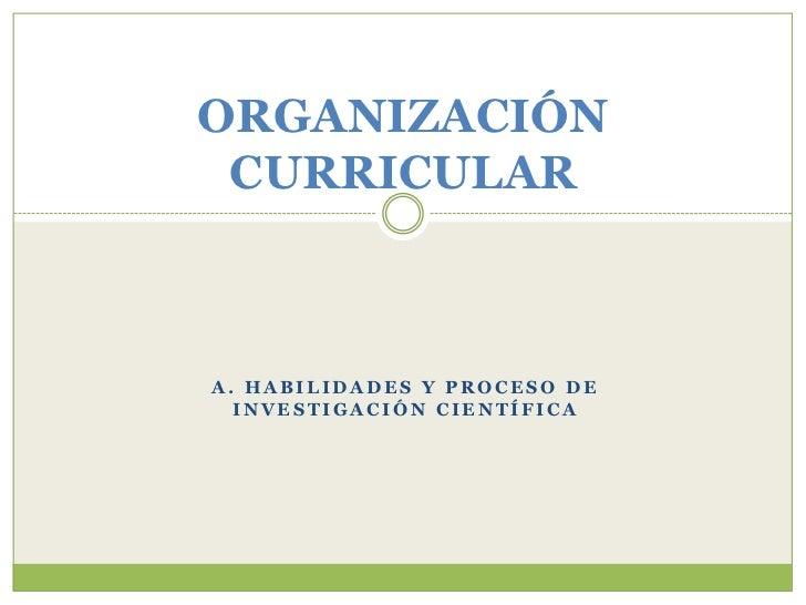 ORGANIZACIÓN CURRICULARA. HABILIDADES Y PROCESO DE  INVESTIGACIÓN CIENTÍFICA