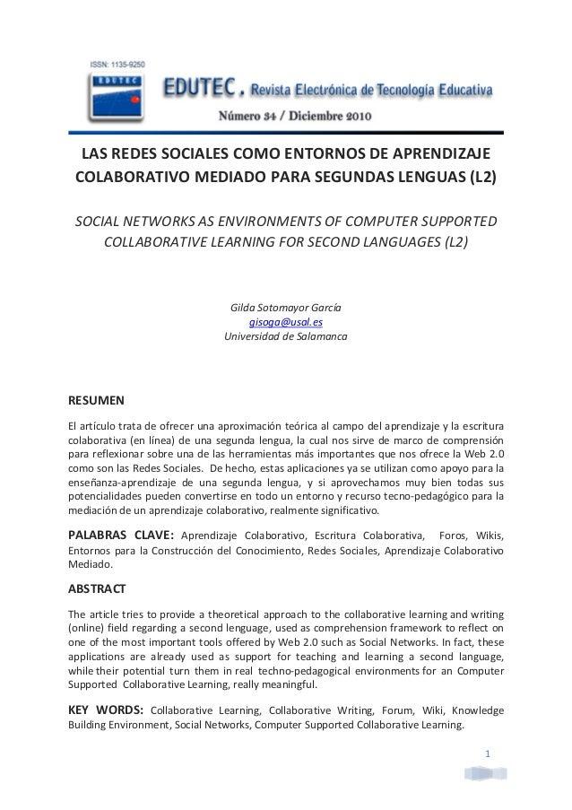 LAS REDES SOCIALES COMO ENTORNOS DE APRENDIZAJE            COLABORATIVO MEDIADO PARA SEGUNDAS LENGUA...