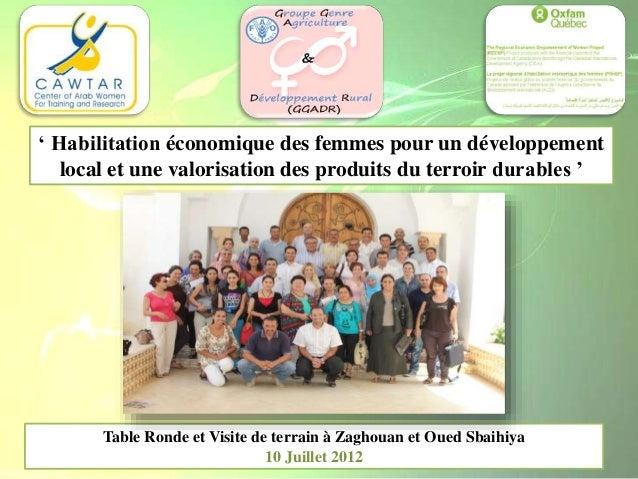 Table Ronde et Visite de terrain à Zaghouan et Oued Sbaihiya 10 Juillet 2012 ' Habilitation économique des femmes pour un ...
