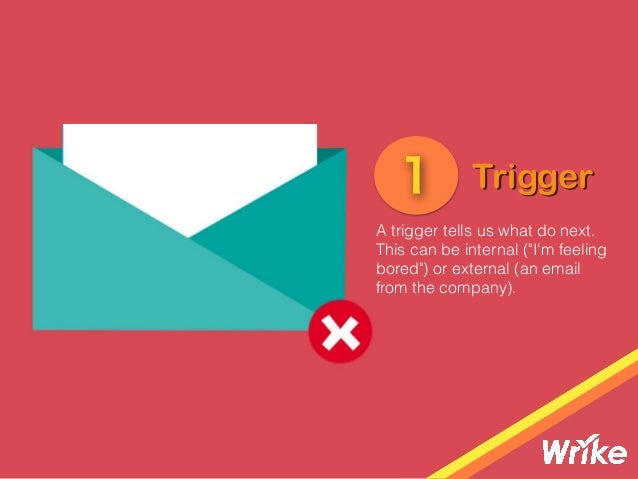 "A trigger tells us what do next. This can be internal (""I'm feeling bored"") or external (an email from the company). Trigg..."