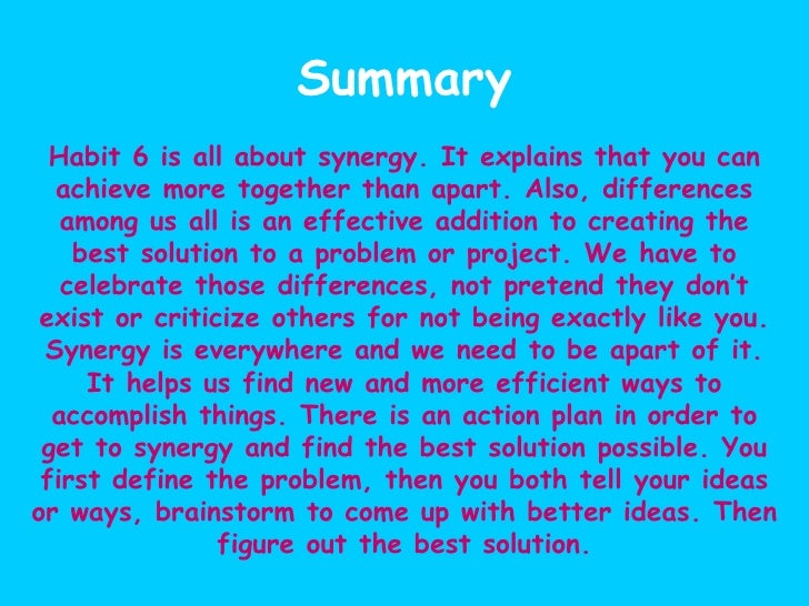 habit 6 synergize 2 i value other people's strengths and learn from them i value other people's  strengths and learn from them i get along well with others, even.