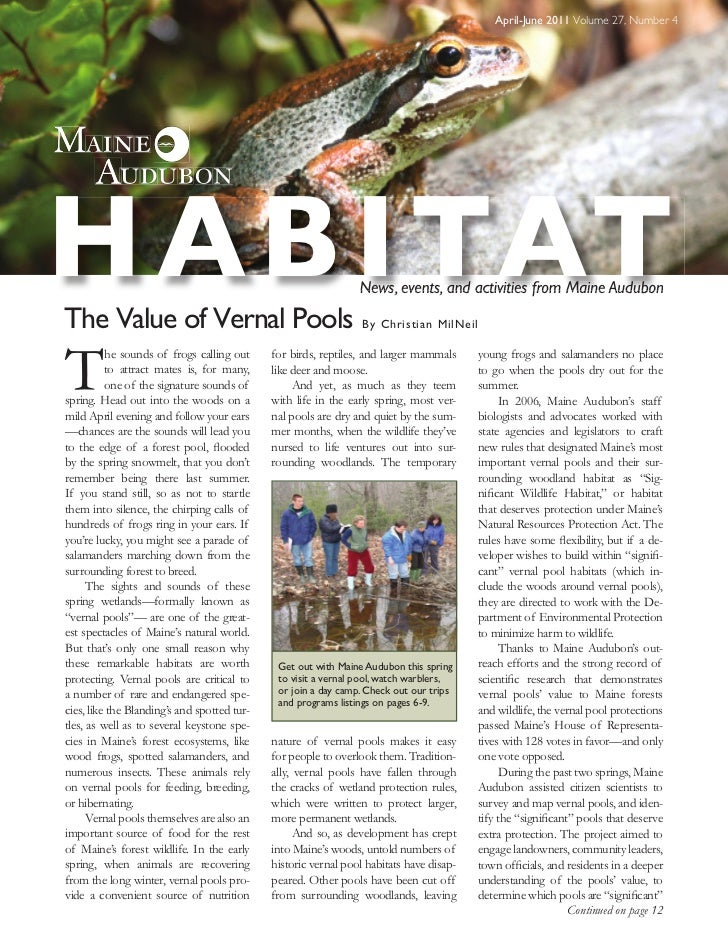 April-June 2011 Volume 27, Number 4H A B I TATThe Value of Vernal Pools                                                   ...