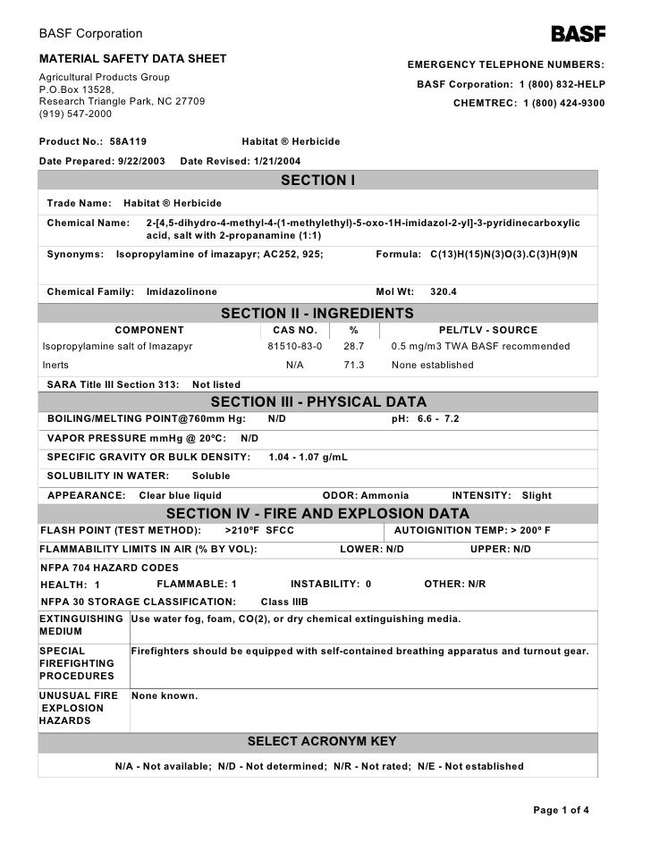 BASF Corporation MATERIAL SAFETY DATA SHEET                                                      EMERGENCY TELEPHONE NUMBE...