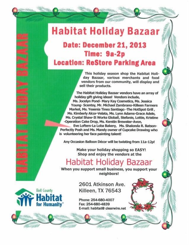 Habitat Holiday Bazaar-Dec. 21, 2013! 9a-2p