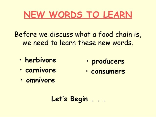 NEW WORDS TO LEARN Before we discuss what a food chain is, we need to learn these new words. • herbivore • carnivore • omn...