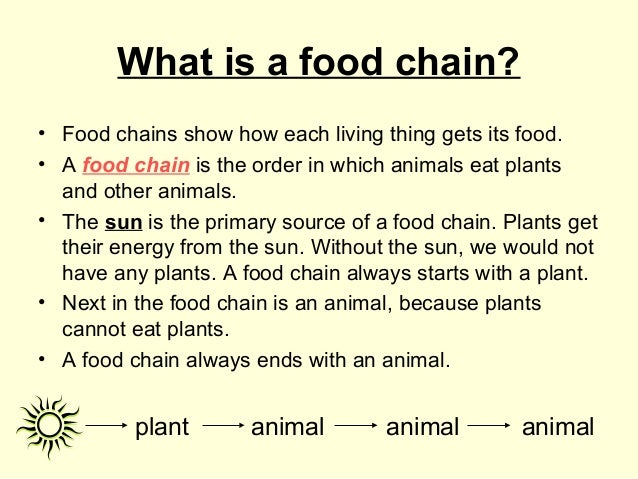 What is a food chain? • Food chains show how each living thing gets its food. • A food chain is the order in which animals...