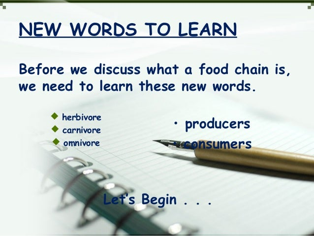 NEW WORDS TO LEARN Before we discuss what a food chain is, we need to learn these new words.  herbivore  carnivore  omn...