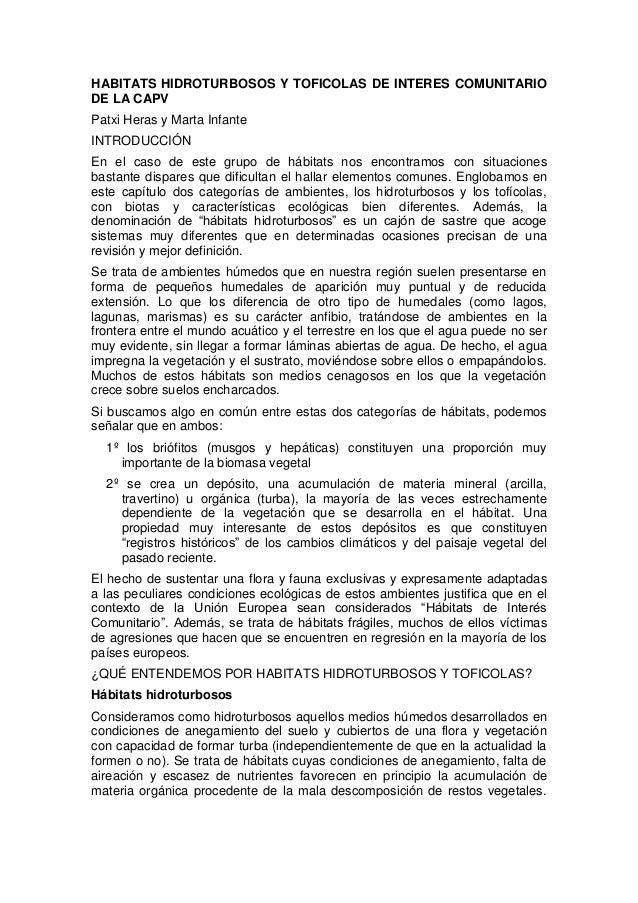 HABITATS HIDROTURBOSOS Y TOFICOLAS DE INTERES COMUNITARIODE LA CAPVPatxi Heras y Marta InfanteINTRODUCCIÓNEn el caso de es...