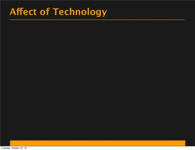 Affect of Technology  Tuesday, October 15, 13