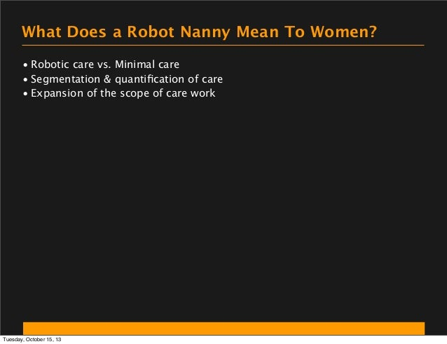 What Does a Robot Nanny Mean To Women? • Robotic care vs. Minimal care • Segmentation & quantification of care • Expansion ...