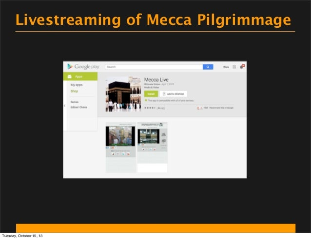 Livestreaming of Mecca Pilgrimmage  Tuesday, October 15, 13