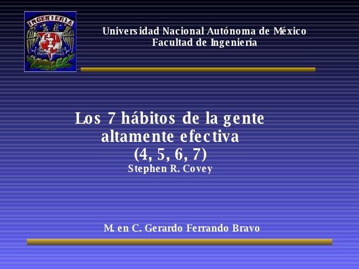 Universidad Nacional Autónoma de México Facultad de Ingeniería Los 7 hábitos de la gente altamente efectiva (4, 5, 6, 7) S...