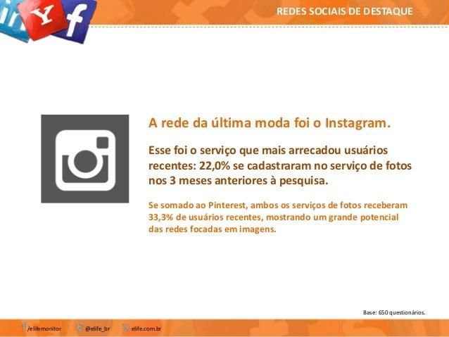 Base: 650 questionários./elifemonitor @elife_br elife.com.brREDES SOCIAIS DE DESTAQUEA rede da última moda foi o Instagram...