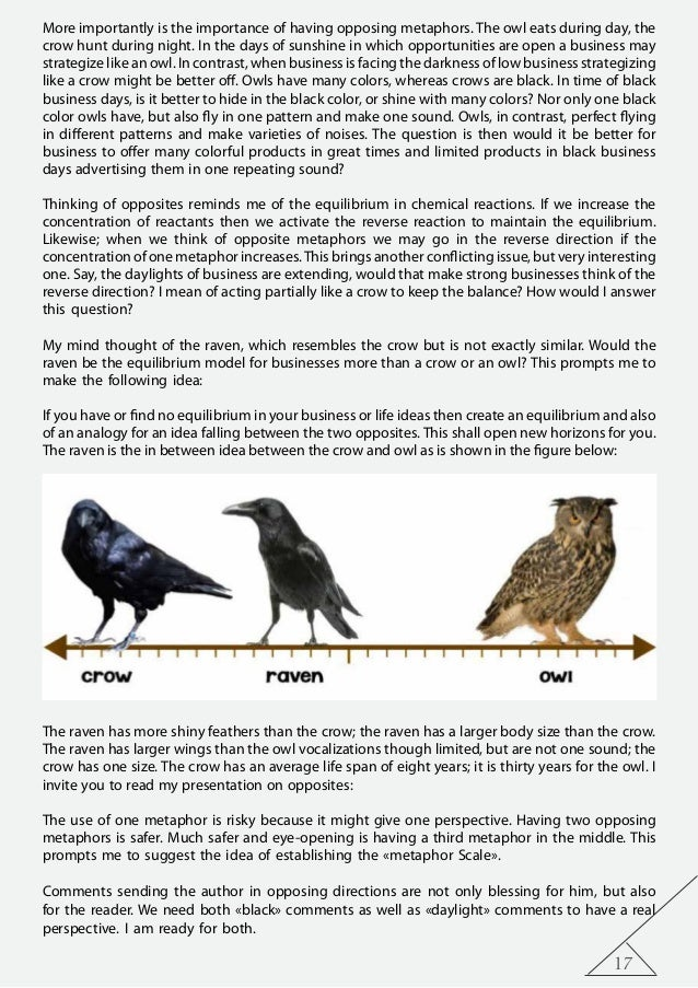 17 More importantly is the importance of having opposing metaphors. The owl eats during day, the crow hunt during night. I...