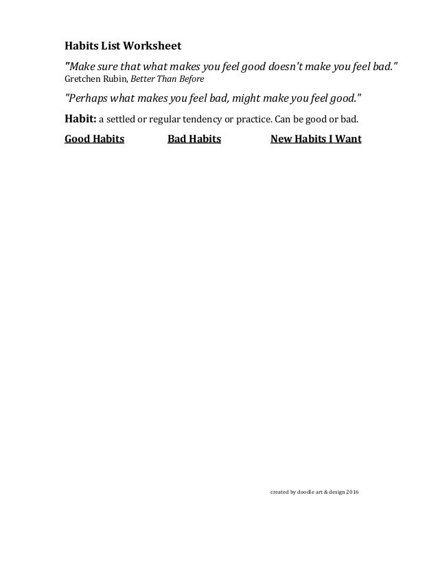 Habits worksheets by kathleen thometz