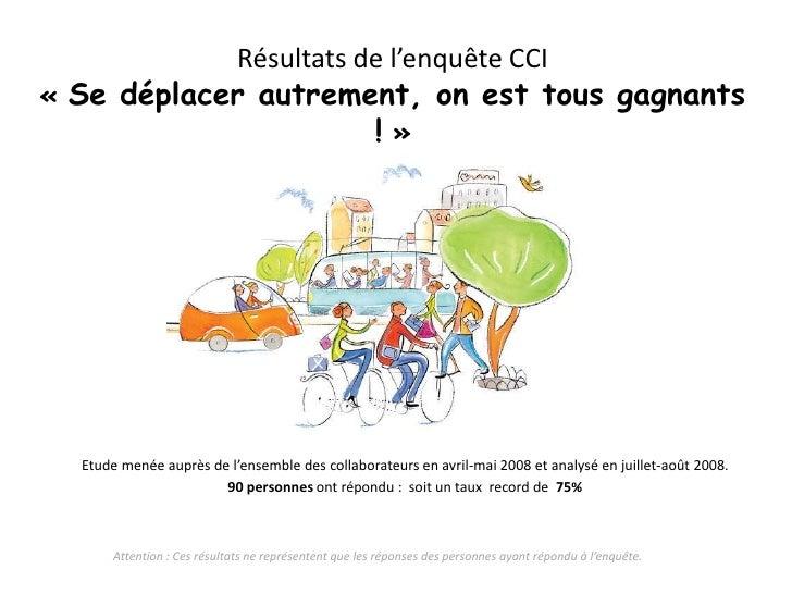 Résultats de l'enquête CCI«Se déplacer autrement, on est tous gagnants !»<br />Etude menée auprès de l'ensemble des coll...