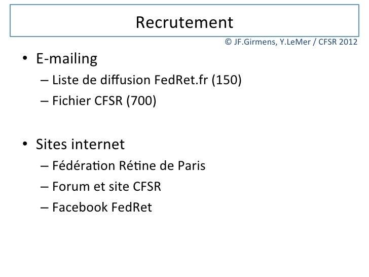 Recrutement                                                   © JF.Girmens, Y.LeMer / CFSR 2012 • E-‐maili...
