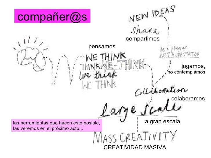 compañer@s compartimos pensamos jugamos, no contemplamos colaboramos a gran escala CREATIVIDAD   MASIVA las herramientas q...
