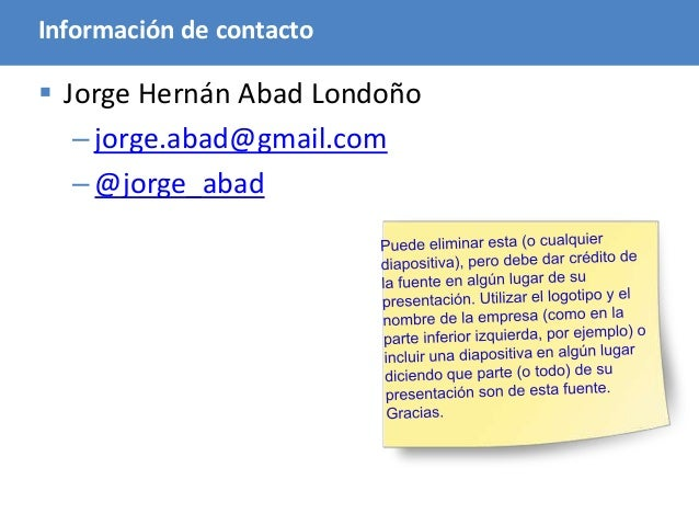 120 Información de contacto  Jorge Hernán Abad Londoño –jorge.abad@gmail.com –@jorge_abad
