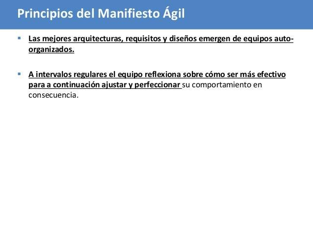 48 Principios del Manifiesto Ágil  Las mejores arquitecturas, requisitos y diseños emergen de equipos auto- organizados. ...
