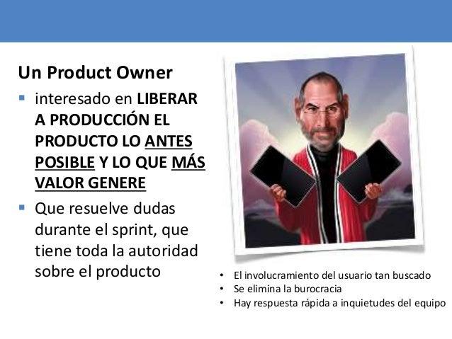 60 Un Product Owner  interesado en LIBERAR A PRODUCCIÓN EL PRODUCTO LO ANTES POSIBLE Y LO QUE MÁS VALOR GENERE  Que resu...