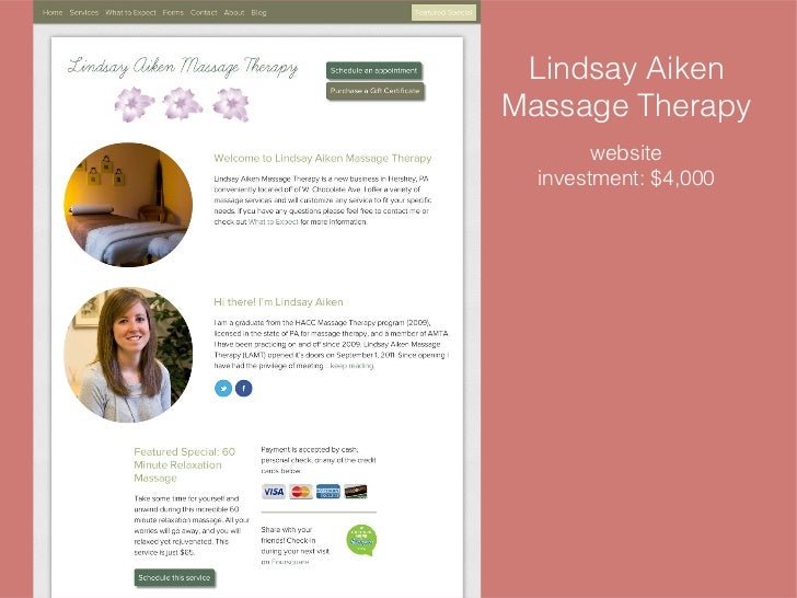 HACC Massage Therapy Business Class - Websites