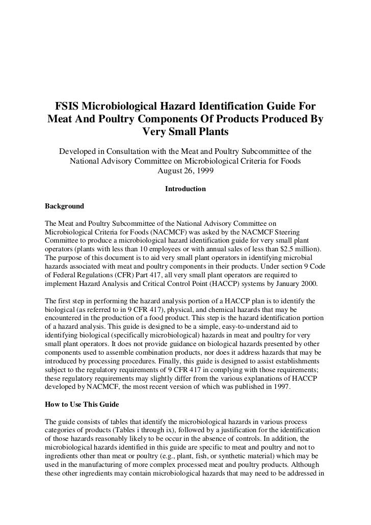 FSIS Microbiological Hazard Identification Guide ForMeat And Poultry Components Of Products Produced By                  V...
