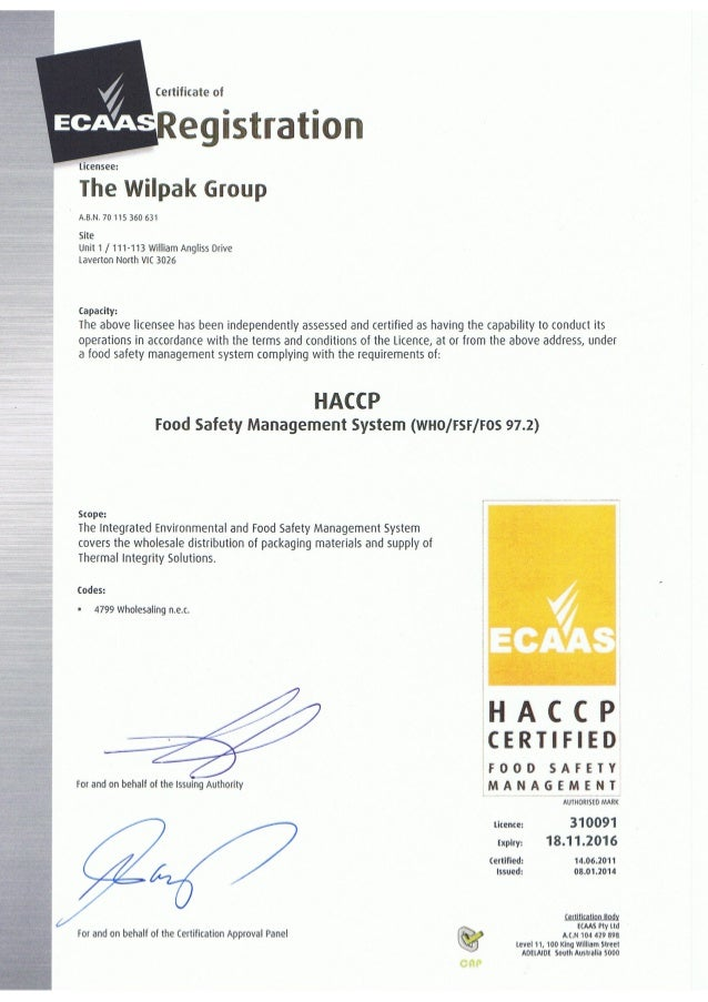 Haccp Certification The Wilpak Group