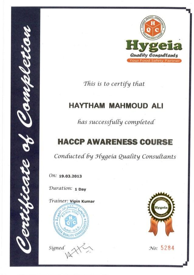 Haccp awareness course