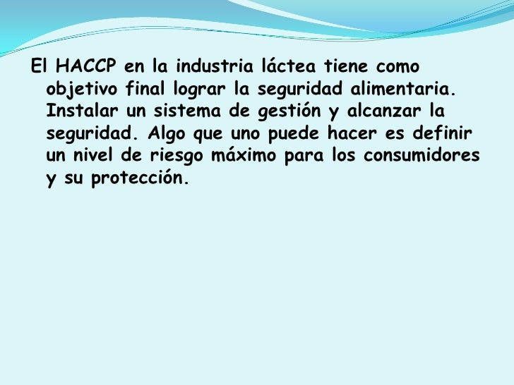 Haccp en la industria lactea Slide 2