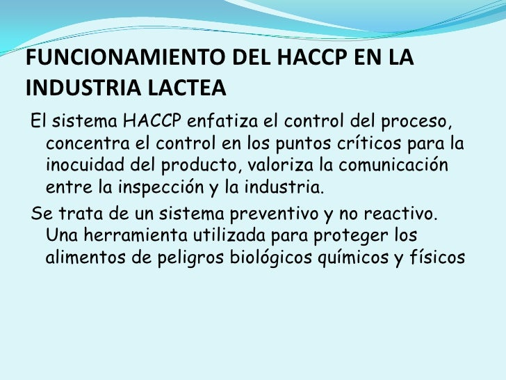 Haccp en la industria lactea Slide 3