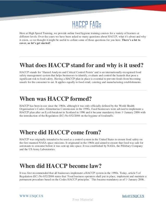 Haccp FAQs