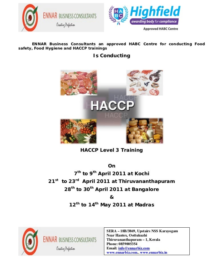 ENNAR Business Consultants an approved HABC Centre for conducting Foodsafety, Food Hygiene and HACCP trainings            ...