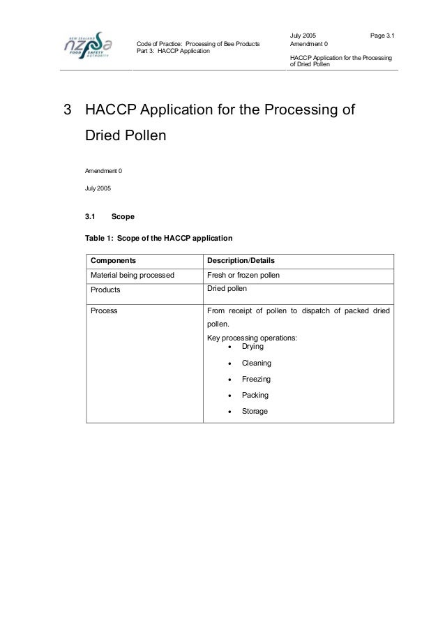 Haccp plan for honey