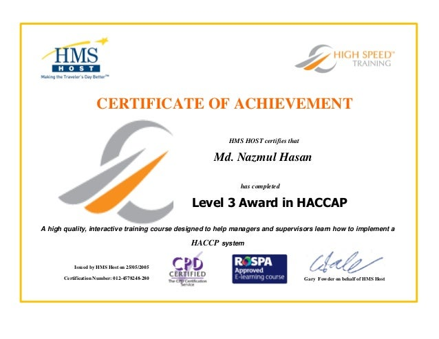 Haccp Training Certificate 25 05 2005 Hms Host