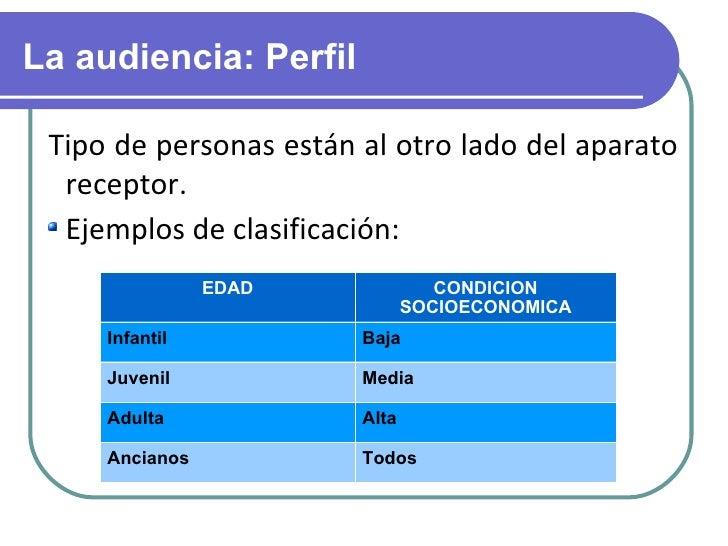 La audiencia: Perfil <ul><li>Tipo de personas están al otro lado del aparato receptor. </li></ul><ul><li>Ejemplos de clasi...